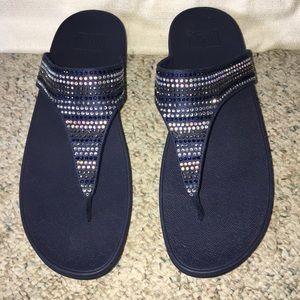 Fitflop strobe luxe sandals midnight navy NWOB